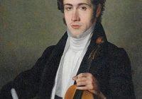 Painting of Niccolo Paganini holding a violin