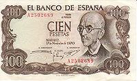 100 Pesatas note featuring Manuel y Falla