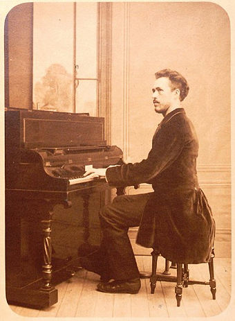 Portrait of Benjamin Godard playing the piano