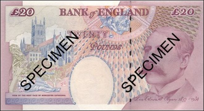 Specimen twenty pound note with Sir Edward Elgar on one side
