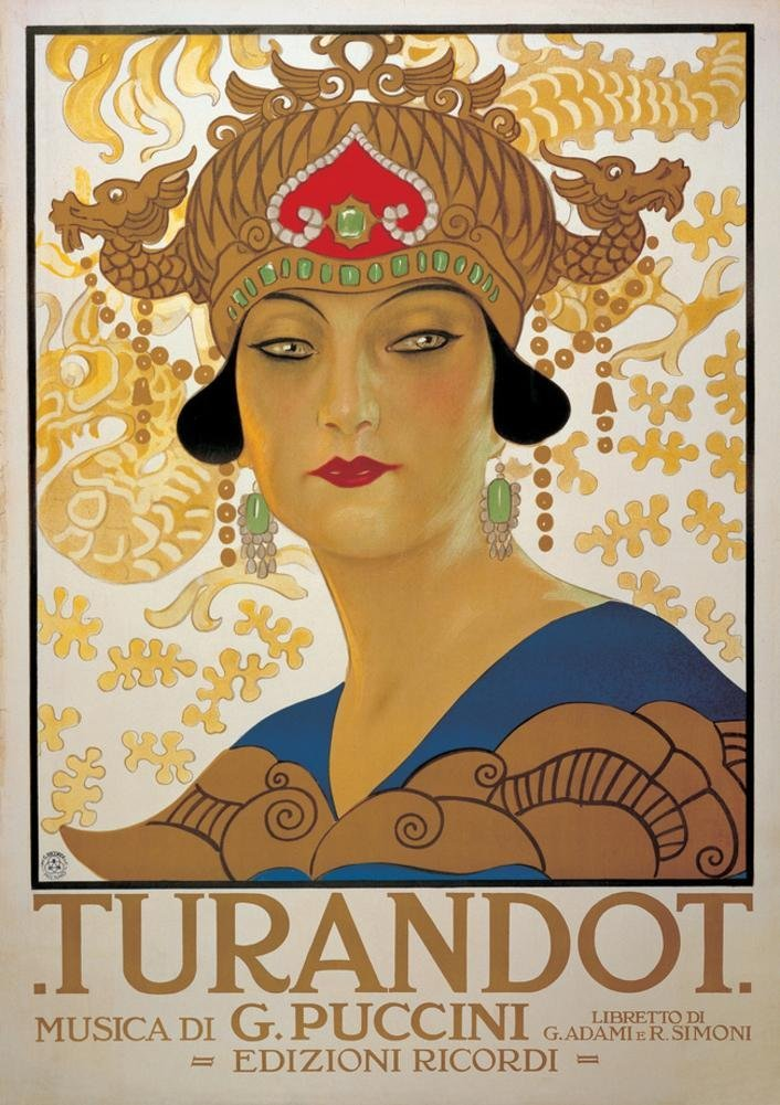 Poster for the opera Turando picuring an Eastern Asian lady