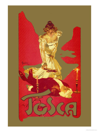 Tosca opera poster in red and gold