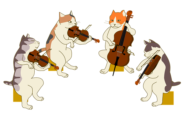 A drawing of four cats playing a string quartet