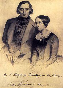 Lithograph of Robert and Clara Schumann in 1847