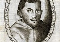A drawing of Adriano Banchieri dressed in monks clothing