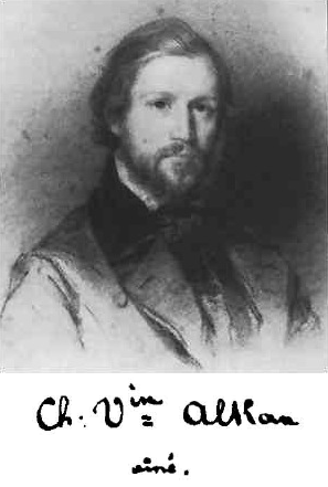 Portrait of Charles Alkan as a young man in black and white
