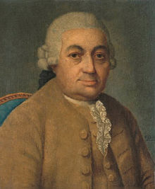 Head and Shoulders Colour Painting of composer, Carl Philipp Emanuel Bach formally dressed
