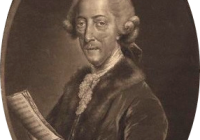 Black and White painting of a middle aged Thomas Arne holding a piece of music