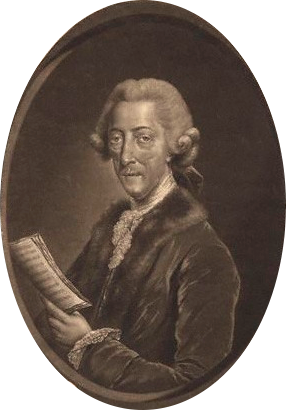 Black and White photograph of a middle aged Thomas Arne holding a piece of music