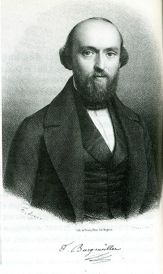 Lithograph of Friedrich Burgmuller's head and shoulders during  his thirties