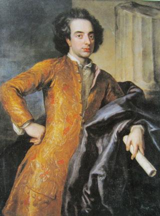 Colour portrait by Anthoni Schoonjans of Giovanni Bononcini holding a scroll
