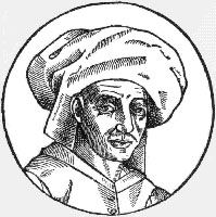 1611 woodcut of Josquin des Prez, copied from a now-lost oil painting done during his lifetime