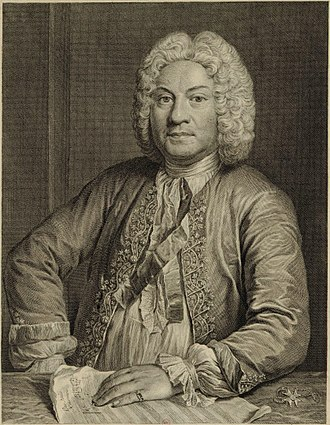 François Couperin, composer. Etching by Jean-Jacques Flipart,