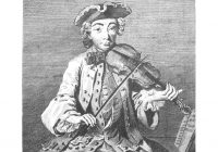 A black and white portrait of Michel Corrette playing the violin