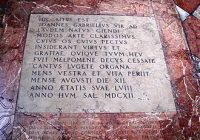 A photograph of the tomb of Giovanni Gabrieli