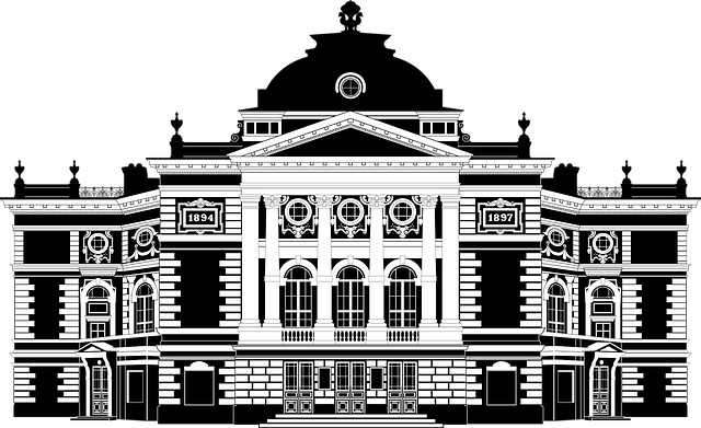Black & White drawing of an Opera Hall