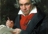 Colour Portrait of Beethoven holding some sheet music in 1820