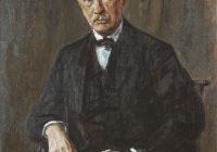 A coloured Portrait painting of Richard Strauss by Max Liebermann Bildnis