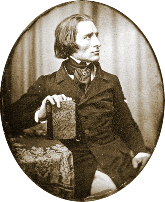 Black & White Photograph of Franz Liszt in 1843