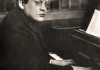 Black & White Photograph of Max Reger playing the piano c1910
