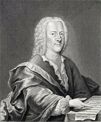 Engraving of Georg Philipp Telemann by Georg Lichtensteger c1745