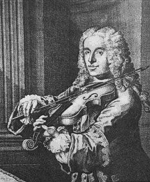 Black & White image of Francesco Maria Veracini playing the violin