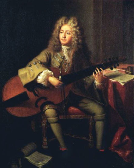 A colour portrait of Marin Marais in 1704 in his late forties by Andre Buoys