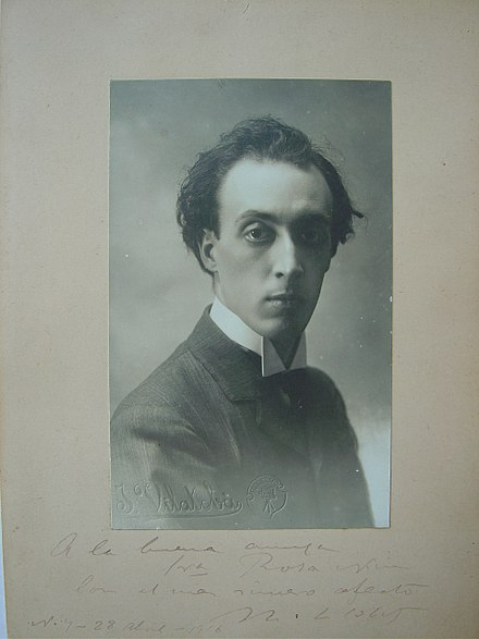 Black & White portrait of Miguel Llobet dated 1916