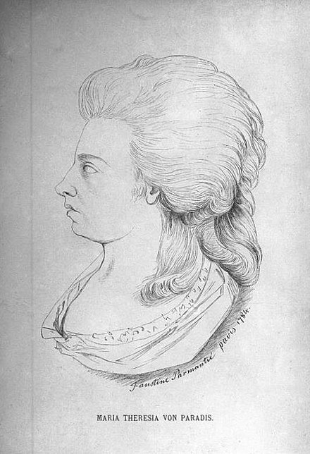 Maria Theresia Paradis Pencil Portrait of her face