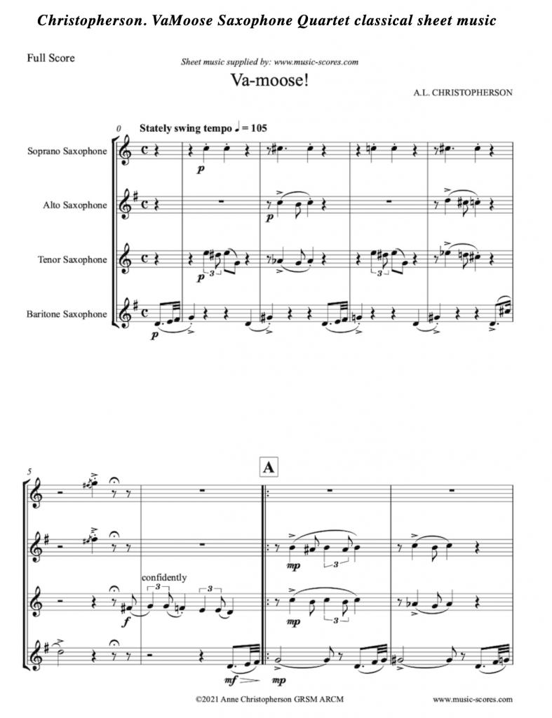 VaMoose Sheet Music Sax Quartet by Anne Christopherson