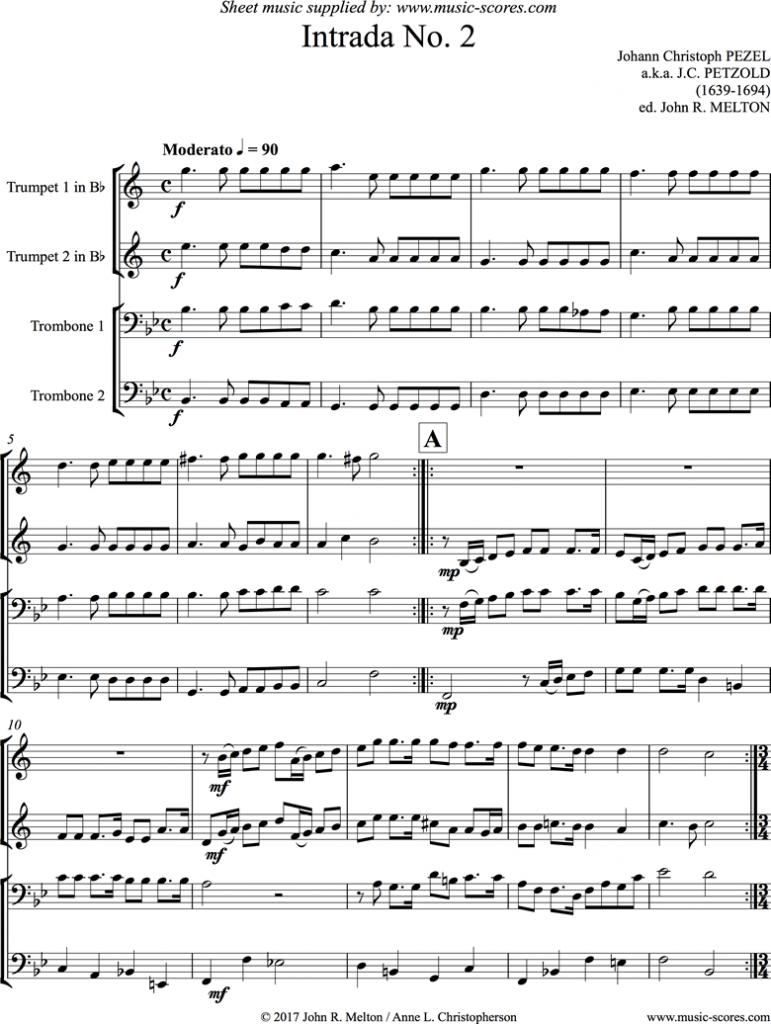Johann Pezel Sheet Music Intrada No.2
