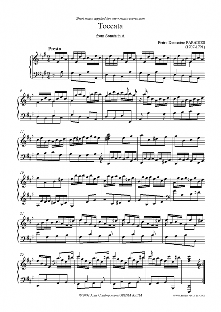 Paradies PD Sheet Music Toccata in A