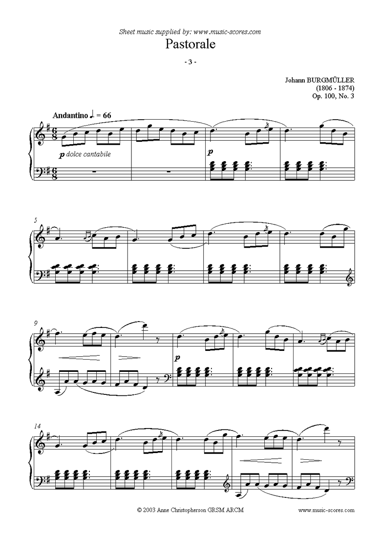 Front page of Op.100 No.03 Pastorale: Piano sheet music