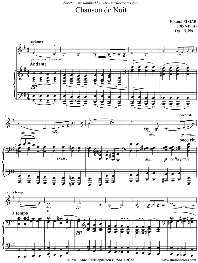 Front page of Chanson de Nuit: Violin sheet music
