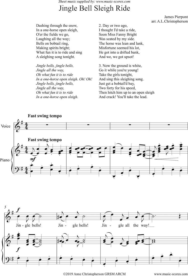 Front page of Jingle Bell Sleigh Ride: Voice and Piano sheet music