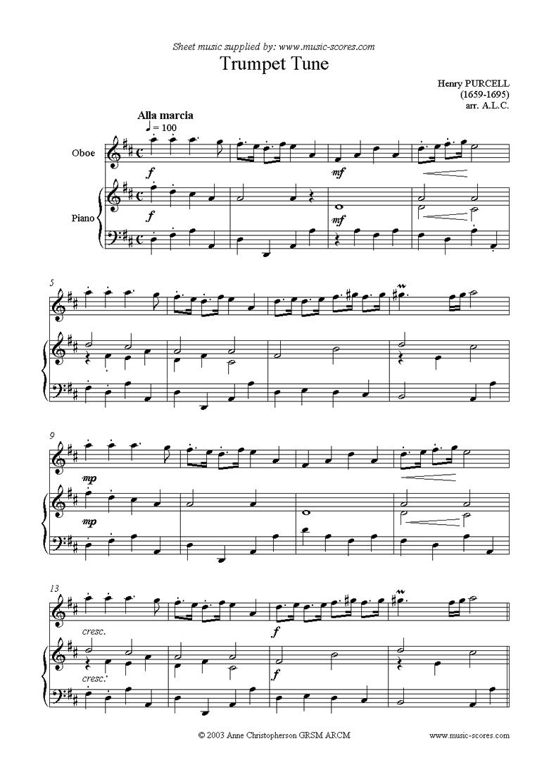 Front page of Trumpet Tune: Oboe sheet music