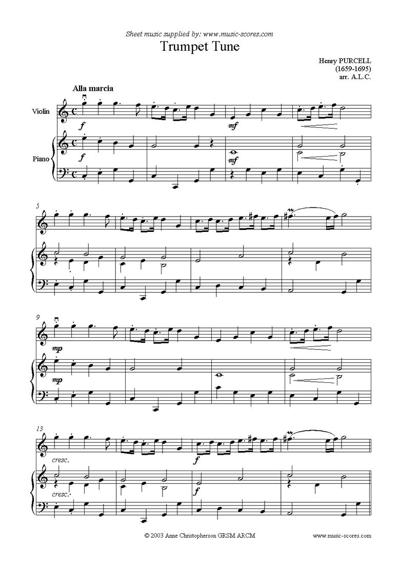 Front page of Trumpet Tune: Violin sheet music