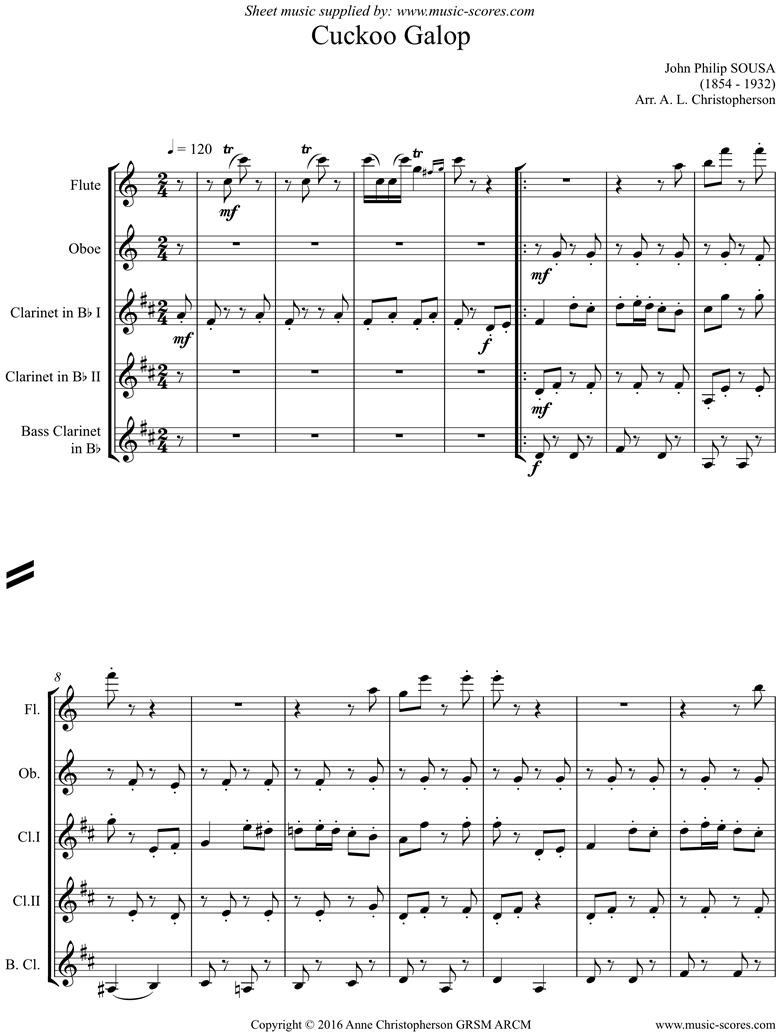 Front page of Cuckoo Galop: flute, oboe, 2 clarinets, bass clarinet sheet music