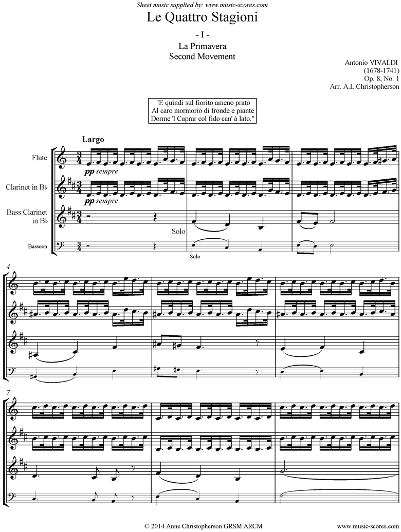 Front page of Op.8 No.1: The Four Seasons: Spring: 2nd mt Flute, Clarinet, Bass Clarinet sheet music