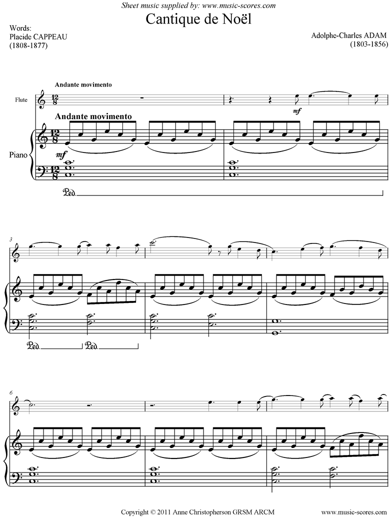 o holy night, or cantique de noel. flute, piano. sheet music by adolphe  charles adam  music-scores.com