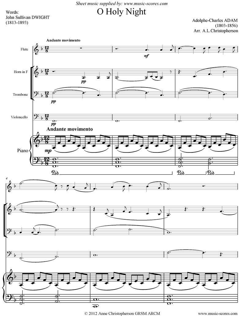 o holy night, or cantique de noel. flute, horn, trombone, cello, piano. sheet  music by adolphe charles adam  music-scores.com