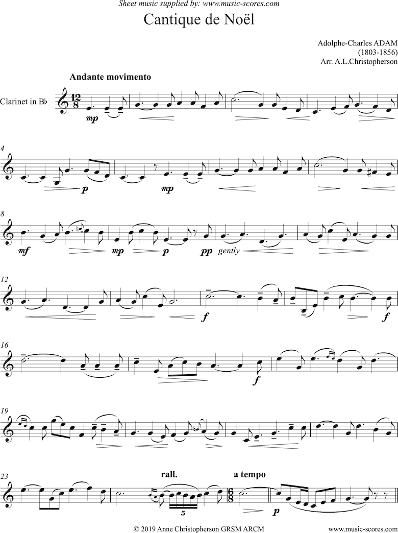 Front page of O Holy Night, or Cantique de Noel. Solo Clarinet sheet music