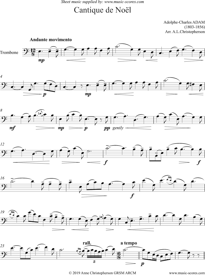 Front page of O Holy Night, or Cantique de Noel. Solo Trombone sheet music