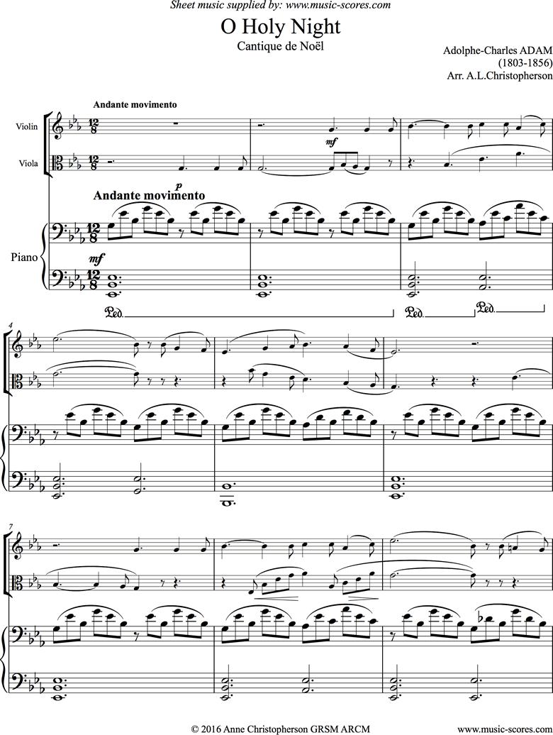 o holy night, or cantique de noel. violin, viola, piano. eb. sheet music by adolphe  charles adam  music-scores.com