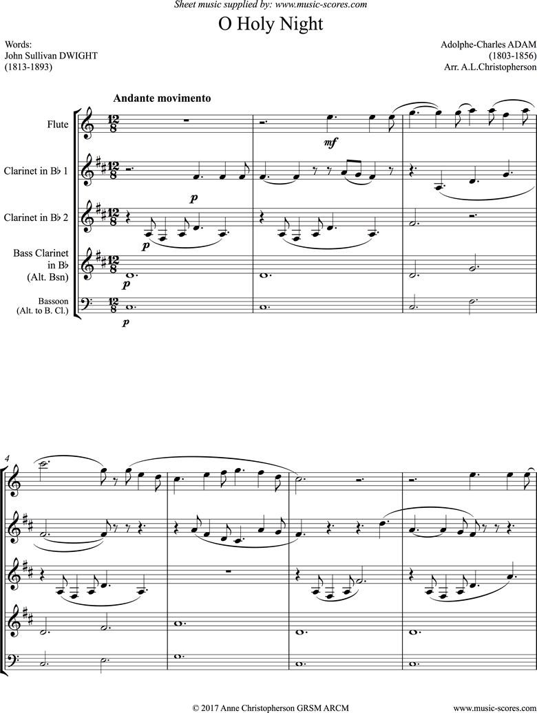 Front page of O Holy Night, or Cantique de Noel. Wind Quartet sheet music