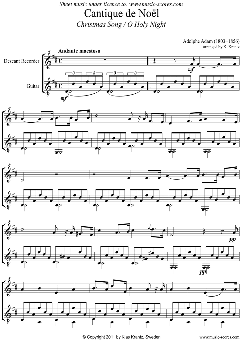 Front page of O Holy Night, or Cantique de Noel. Recorder, Guitar sheet music