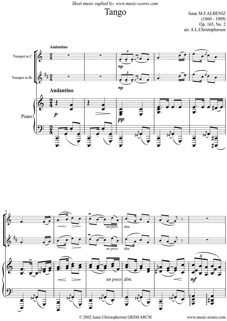 Op.165, No.2: Tango: Trumpet, harder accomp. by Albeniz