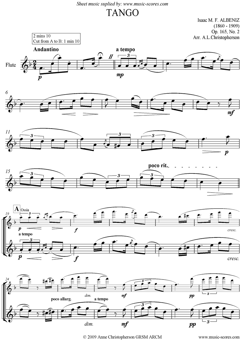 Front page of Tango: Op.165, No.2: Unaccompanied Flute sheet music