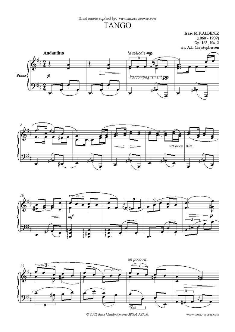 Front page of Tango: Op.165, No.2: Piano sheet music