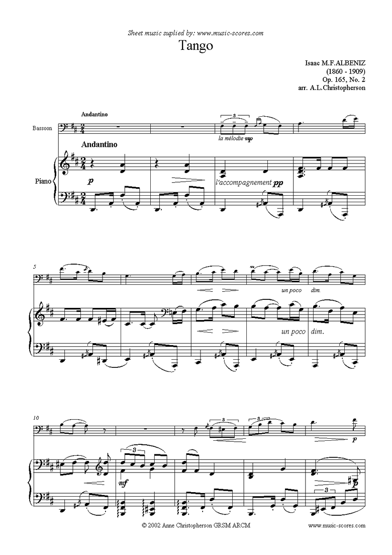 Front page of Tango: Op.165, No.2: Bassoon sheet music